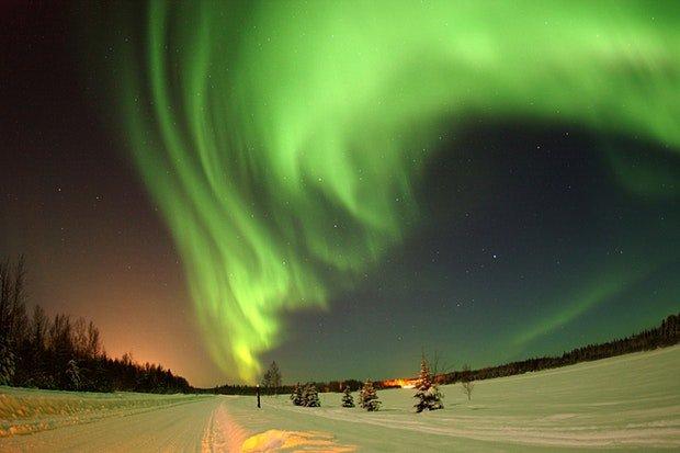 Skandinavien Polarlichter Stock