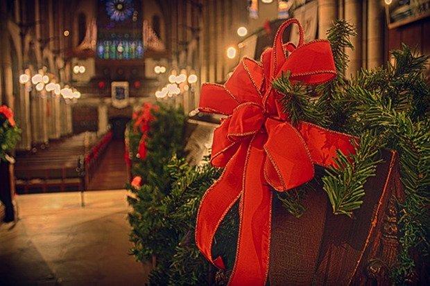Kirche Weihnachten Stock
