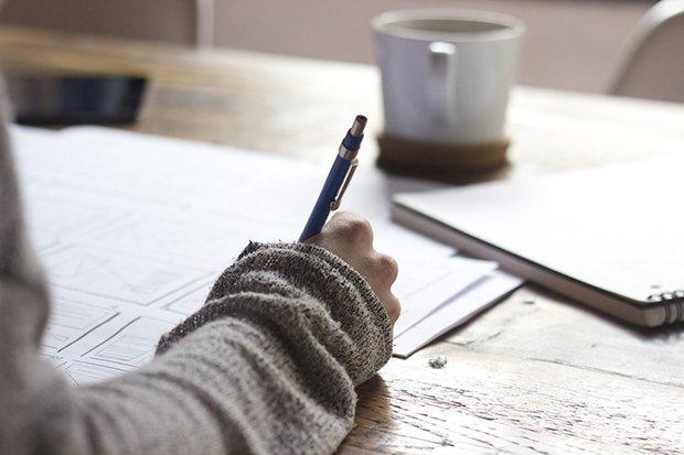 Schreiben Stock