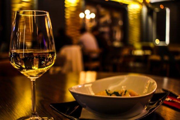 Dinner Essen Wein Stock