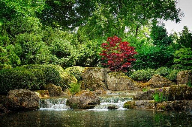 Japan Garten Natur Schönheit Wasser Stock
