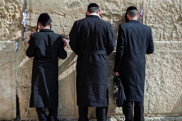 Juden beklagen sich an der Klagemauer stock