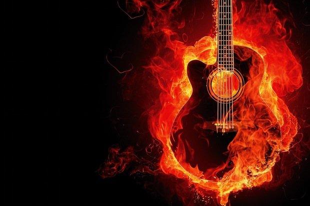 Gitarre Feuer Musik Stock