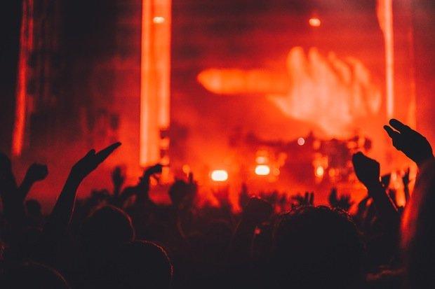 Party Fest Musik Bühne Feiern Stock
