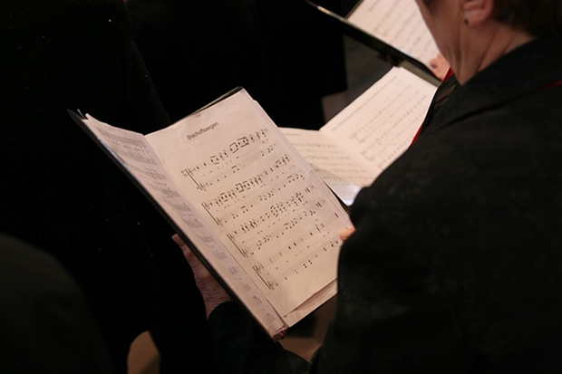 Gesang Chor Noten Stock