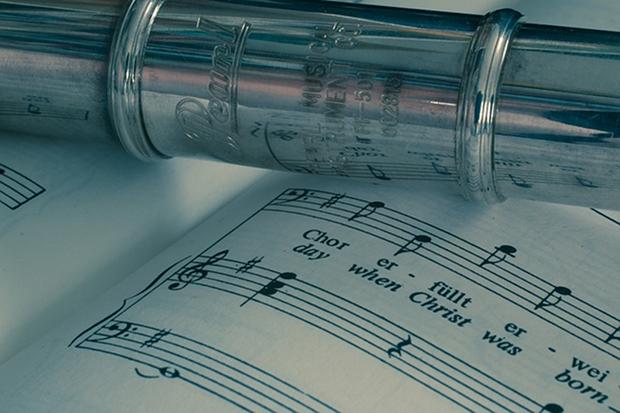 Flöte Musik Klassik Noten Stock