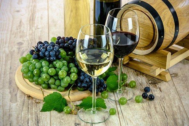 Wein Weintrauben Rotwein Weißwein Stock