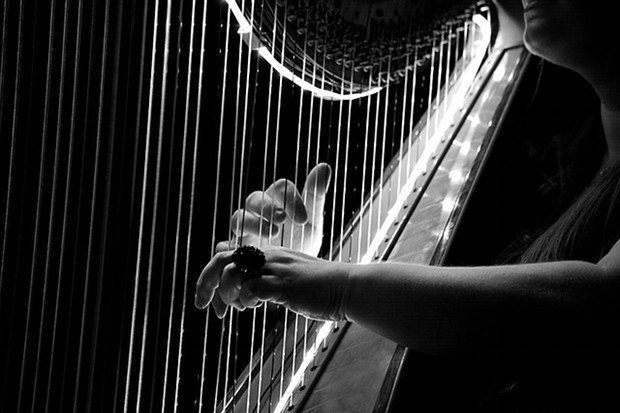 Harfe Musik Stock