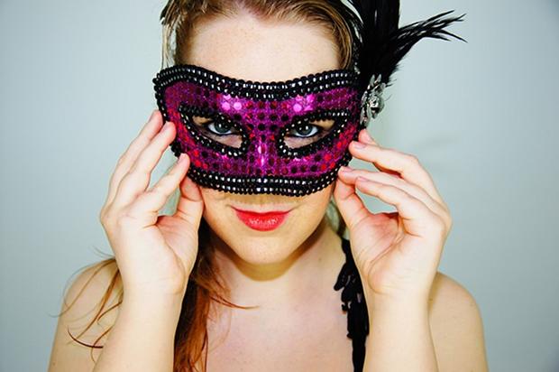 Pink Maske Fasching Karneval Stock