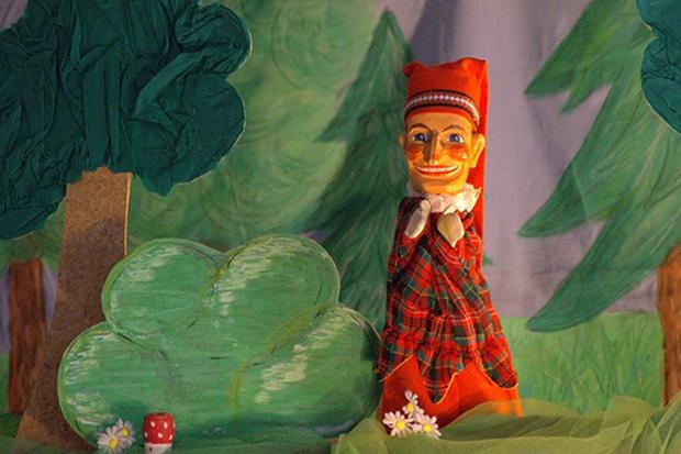 Puppentheater Kasper Stock