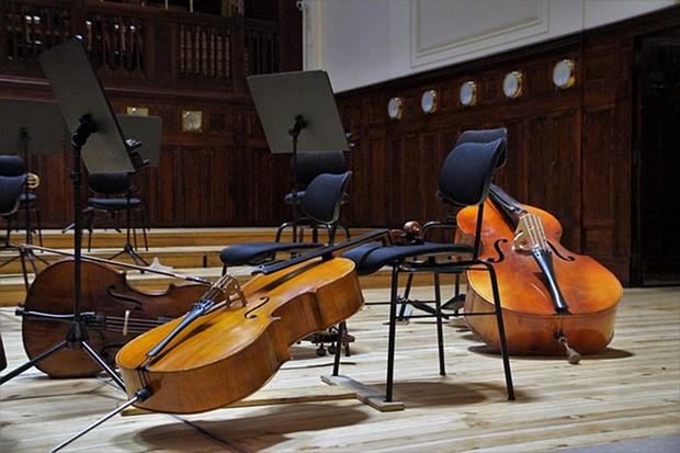 Musik Klassik Kontrabass Streichmusik Orchester Sinfonie Stock