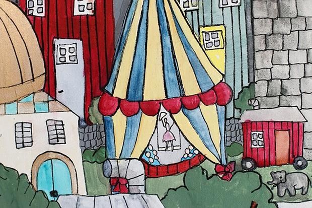 Zirkus Malen Bild Kinder Buntstifte Stock