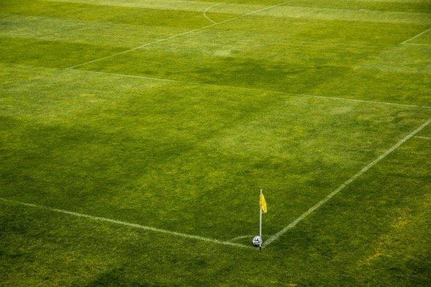 Fußball Soccer Spielfeld Stock